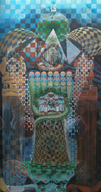 John Biggers mural 'Tree House' located in the Harvey Library.